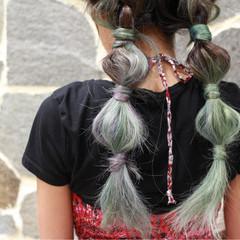 パステルカラー ヘアアレンジ 個性的 ストリート ヘアスタイルや髪型の写真・画像