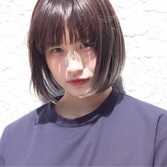 外国人風 ブラウン ボブ アッシュ ヘアスタイルや髪型の写真・画像