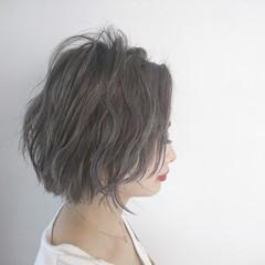 アッシュ モード 透明感 ボブ ヘアスタイルや髪型の写真・画像