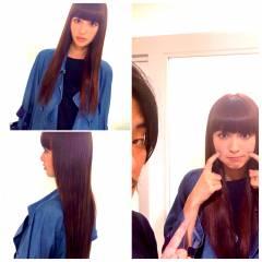 モード ロング ピンク 鈴木えみ ヘアスタイルや髪型の写真・画像