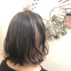 ナチュラル ボブ バレイヤージュ ピンク ヘアスタイルや髪型の写真・画像