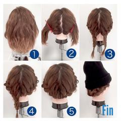 編み込み 大人かわいい ミディアム ショート ヘアスタイルや髪型の写真・画像