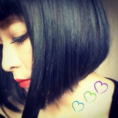 黒髪 モード ボブ 暗髪 ヘアスタイルや髪型の写真・画像
