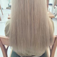 外国人風 外国人風カラー 金髪 セミロング ヘアスタイルや髪型の写真・画像