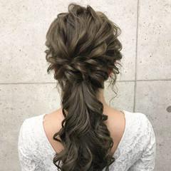 ハーフアップ ローポニーテール 上品 結婚式 ヘアスタイルや髪型の写真・画像