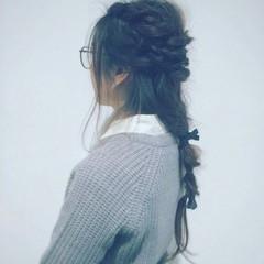 ロープ編み くるりんぱ ロング ヘアアクセ ヘアスタイルや髪型の写真・画像