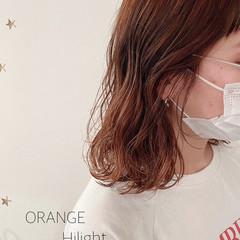 ストリート ハイトーンボブ オレンジ ミディアム ヘアスタイルや髪型の写真・画像