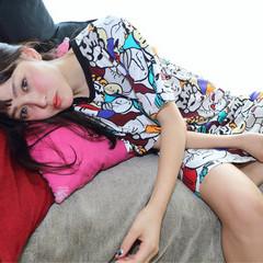ピュア フェミニン ミディアム 黒髪 ヘアスタイルや髪型の写真・画像