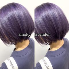 ボブ ラベンダー ラベンダーグレー ラベンダーカラー ヘアスタイルや髪型の写真・画像