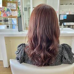 ピンクブラウン 大人かわいい レイヤーカット セミロング ヘアスタイルや髪型の写真・画像