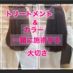 髪質改善カラー ナチュラル セミロング 髪質改善トリートメント ヘアスタイルや髪型の写真・画像
