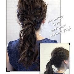 フェミニン ロング 結婚式 ローポニーテール ヘアスタイルや髪型の写真・画像