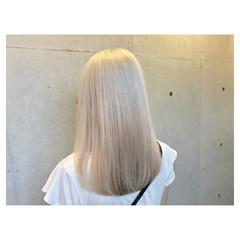 モード ブリーチ 外国人風 セミロング ヘアスタイルや髪型の写真・画像