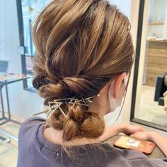 結婚式ヘアアレンジ ナチュラル セルフアレンジ ミディアム ヘアスタイルや髪型の写真・画像