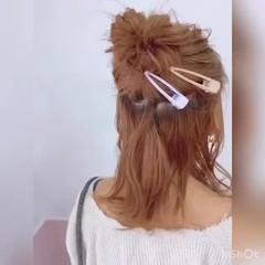 セルフヘアアレンジ 切りっぱなしボブ ガーリー ミルクティーベージュ ヘアスタイルや髪型の写真・画像