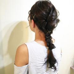ショート 編み込み ヘアアレンジ お団子 ヘアスタイルや髪型の写真・画像