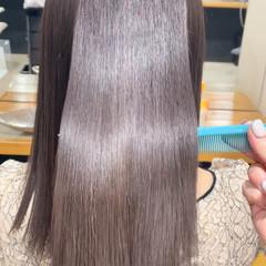 ナチュラル ラベンダーピンク ラベンダーアッシュ セミロング ヘアスタイルや髪型の写真・画像