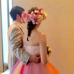 結婚式 愛され ブライダル セミロング ヘアスタイルや髪型の写真・画像