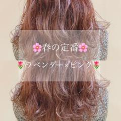 透明感カラー ラベンダーピンク ナチュラル 鎖骨ミディアム ヘアスタイルや髪型の写真・画像