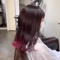 切りっぱなしボブ ピンクバイオレット ガーリー ベリーピンク ヘアスタイルや髪型の写真・画像