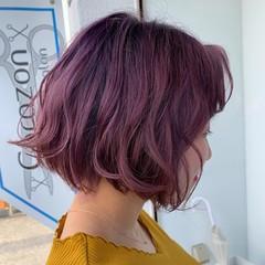ラズベリーピンク エレガント ラベンダーピンク ピンクブラウン ヘアスタイルや髪型の写真・画像