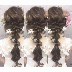 ロング ヘアアレンジ 三つ編み ゆるふわ ヘアスタイルや髪型の写真・画像