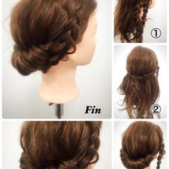 セミロング ヘアアレンジ 簡単ヘアアレンジ フェミニン ヘアスタイルや髪型の写真・画像