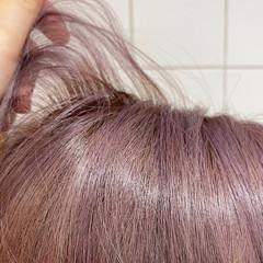 ラベンダーグレー フェミニン ラベンダー ラベンダーアッシュ ヘアスタイルや髪型の写真・画像