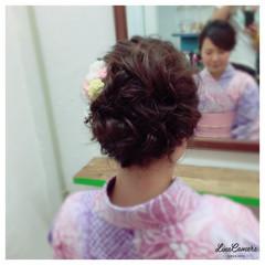 ねじり ミディアム 編み込み 大人かわいい ヘアスタイルや髪型の写真・画像