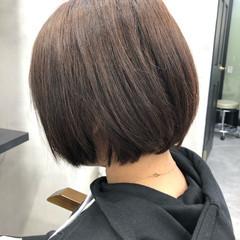 流し前髪 ナチュラル 透明感カラー ショートボブ ヘアスタイルや髪型の写真・画像