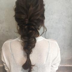 編み込み 結婚式 ラフ ロング ヘアスタイルや髪型の写真・画像