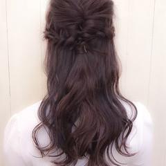 ゆるふわ ロング ハーフアップ 冬 ヘアスタイルや髪型の写真・画像