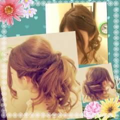 コンサバ くるりんぱ 結婚式 アップスタイル ヘアスタイルや髪型の写真・画像