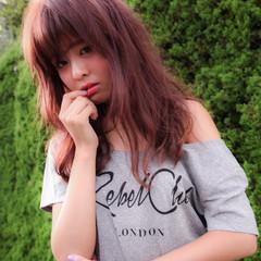 ピンク 無造作 アンニュイ セミロング ヘアスタイルや髪型の写真・画像