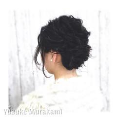 ヘアアレンジ ロープ編み 二次会 フィッシュボーン ヘアスタイルや髪型の写真・画像