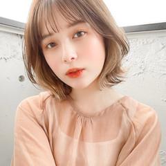 ミディアム 透明感カラー ミニボブ 切りっぱなしボブ ヘアスタイルや髪型の写真・画像