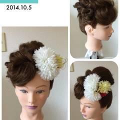 和装 コンサバ アップスタイル 結婚式 ヘアスタイルや髪型の写真・画像