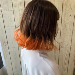 インナーカラー 裾カラー 裾カラーオレンジ ガーリー ヘアスタイルや髪型の写真・画像