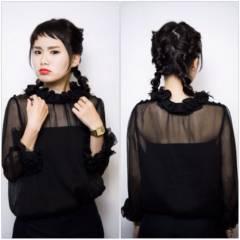 黒髪 モード ヘアアレンジ 三つ編み ヘアスタイルや髪型の写真・画像