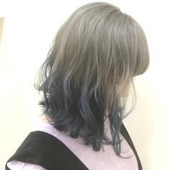ブルー シルバー モード ボブ ヘアスタイルや髪型の写真・画像