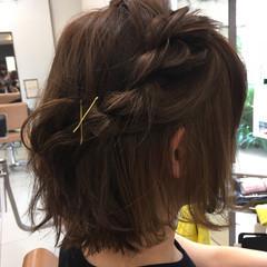 簡単ヘアアレンジ 編み込み ボブ ヘアアレンジ ヘアスタイルや髪型の写真・画像