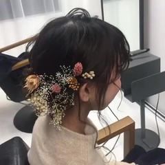 結婚式 フェミニン セミロング 成人式 ヘアスタイルや髪型の写真・画像