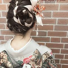 成人式 編み込み アップスタイル ヘアアレンジ ヘアスタイルや髪型の写真・画像