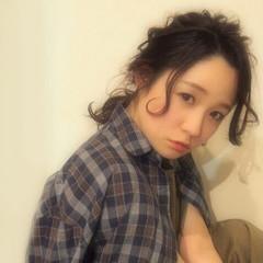 ミディアム パーマ 大人かわいい 暗髪 ヘアスタイルや髪型の写真・画像