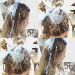ハーフアップ ワイドバング ミディアム ショート ヘアスタイルや髪型の写真・画像