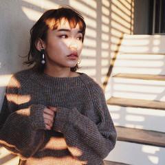 小顔 外ハネ ボブ ショートボブ ヘアスタイルや髪型の写真・画像