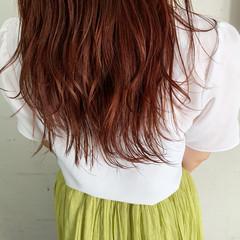 アプリコットオレンジ モテ髪 ロング ピンク ヘアスタイルや髪型の写真・画像
