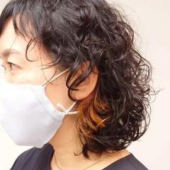 ウルフパーマ ウルフパーマヘア インナーカラー ウルフ ヘアスタイルや髪型の写真・画像