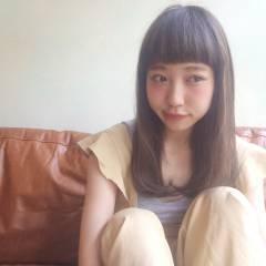 大人かわいい ロング ショートバング 外国人風 ヘアスタイルや髪型の写真・画像