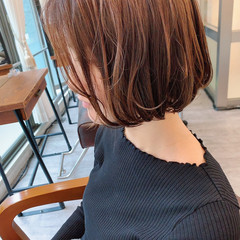 ボブ ミニボブ ベージュ 春色 ヘアスタイルや髪型の写真・画像